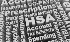 HSA Health Savings Account Medical Care Pay Costs Word Collage 3d Illustration