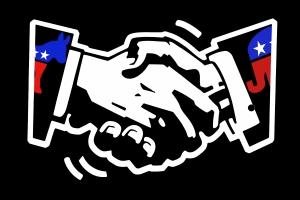 Democrat and Republican hands shaking